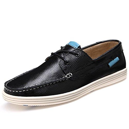 Mens Classic Lace Up Boat Shoe Cowskin Two-Eye Causal Driving Shoe 2B031 Black V6VSVAm