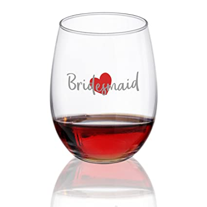 amazon com bridesmaid wine glass stemless wine glasses for bride