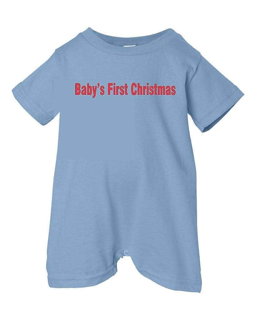 Festive Threads Unisex Baby Babys First Christmas Red Text T-Shirt Romper Lt. Blue, 6 Months