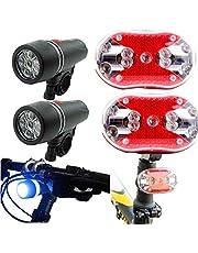 Fahrradlicht LED, Nourich Rücklicht Aufladbare, 2 x 5 LED Fahrradscheinwerfer + 2 x 9 LED Rücklicht, Scheinwerfer Fahrradleuchte Fahrradbeleuchtung Fahrradlampe Fahrradlichter