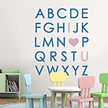 I love You Wall Decal Vinyl Lettering Kids Vinyl Wall Art Alphabet Wall Decal Playroom Wall Stickers Removable Alphabet (Small,Other Letters:Medium Blue;I Love You:Soft Pink)
