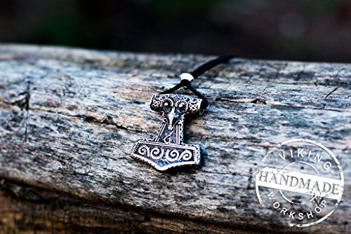 Thor's Hammer Mjolnir Pendant Viking Amulet Sterling Silver Necklace Scandinavian Pendant Norse Jewelry (Scania island) by Viking Workshop