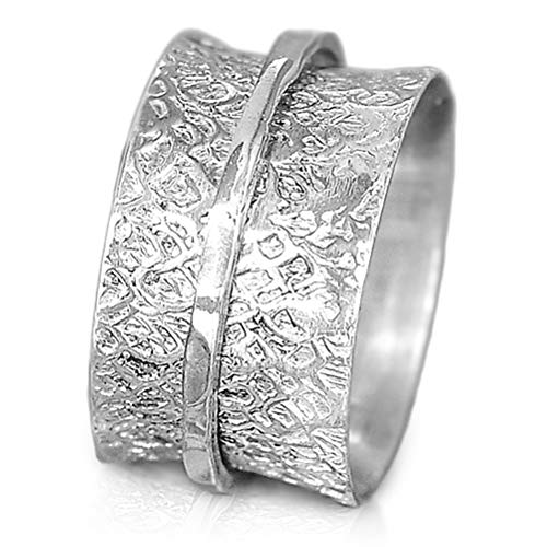 Boho-Magic 925 Sterling Silver Spinner Ring for Women | Hammered Spinning Ring | Wide Band Fidget Meditation Anxiety Relief | Statement Chunky Jewelry Size 5.5-9 (6) ()