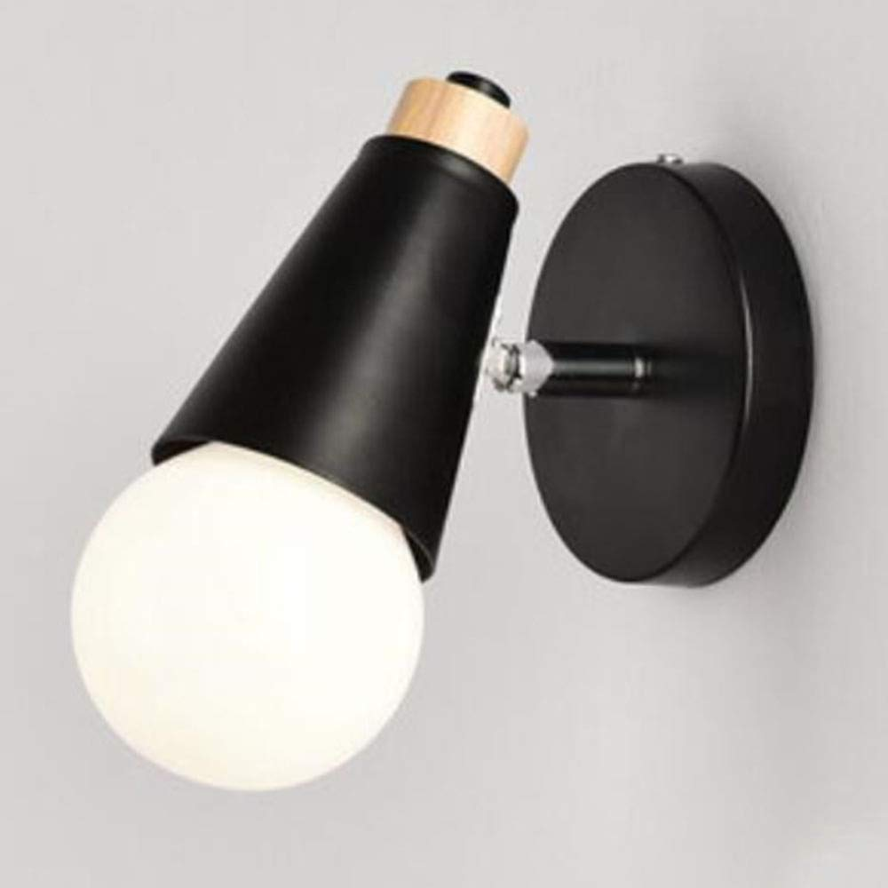 B(schwarz)716cm DRQ LED Moderne Minimalistische Eisen-Wandleuchte-kreativer Durchgang-Korridor-Schlafzimmer-Nachttisch-Wandleuchte,A(Wood-schwarz) 16  22cm
