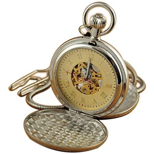 Gold Hunters Case Pocket Watch (VIGOROSO Men's Double Hunter Luxury Steel Hand Wind Mechanical Steampunk Pocket)