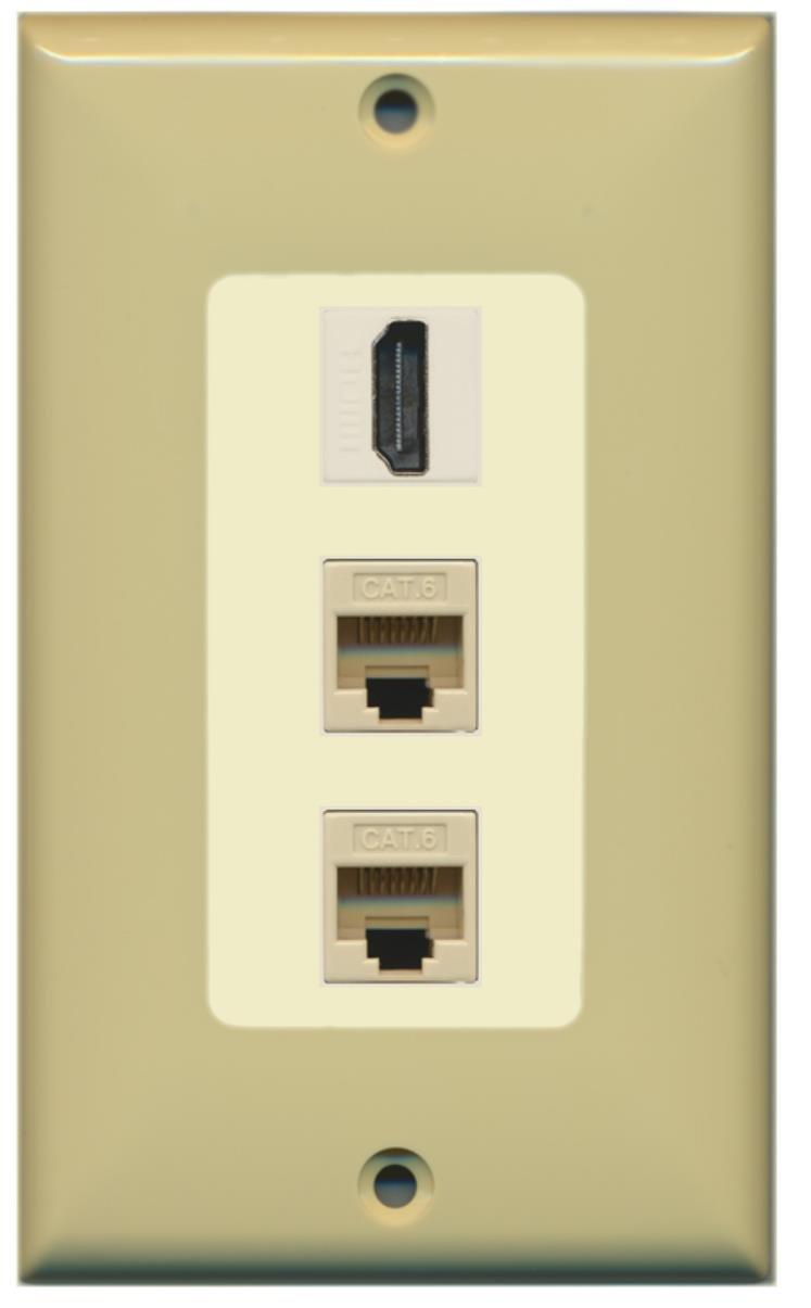 Amazon.com: RiteAV - 1 Port HDMI 2 Port Cat6 Ethernet Decorative ...