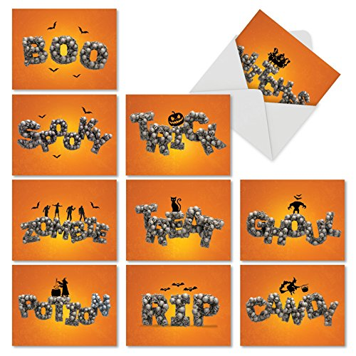 AM6123HWG-B1x10 Spooky Words: Assorted Halloween Notecards Featuring Images of Dreadful Words formed with Bones, with Envelopes -