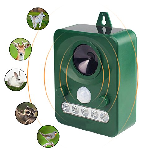 Animal Pest Repellent,Wikoo Effective Solar Battery Powered Outdoor Ultrasonic Pest and Animal Repellent, Pest and Animal Control Rodent (Green) (Repellent Raccoon)