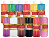 School Smart 1439187 Non-Toxic Multi-Purpose Liquid Tempera Paint Set, 1-Quart Plastic Bottle, Assorted Vibrant Color (Pack of 12)