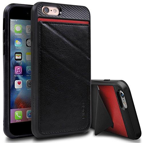 Funda iPhone 6S / 6, Ringke EDGE Monedero Mínimo titular de la tarjeta de protección [BLACK]Cuero sintético de alta calidad, resistente a arañazos, la sentencia de carpeta de la ranura de tarjeta Ocul Black