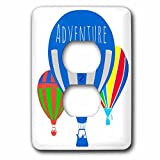 3dRose Alexis Design - Hot Air Balloon - Three colorful hot air balloons, white background, text Adventure - Light Switch Covers - 2 plug outlet cover (lsp_272450_6)