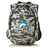 1 Piece Kids Camouflage Fighter Jet Backpack, Army Airplane Grey White Blue Target, Aircraft Aeroplane Artillery School Bag Back Strap, Polyester