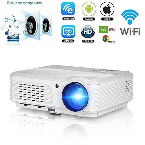 Android Projector 3200 lumens, Wireless WiFi Projector Full HD 1080p Support, LCD Led Video Home Theater Cinema Beamer with HDMI VGA USB AV TV Ports, Android System for Macbook iPhone Smartphone PC