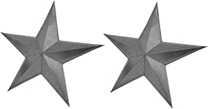 Things2Die4 Set of 2 Galvanized Metal 24 Inch Stars Rustic Wall Art Indoor/Outdoor Decorative Hanging Western Home Decor