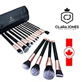 Makeup Brush Sets 16-PCS, Makeup Brush Kit-Cosmetic Tools, Synthetic Brushes for Foundation Blending, Eye Shadow, Blush, Powder, Bronzer, Lipstick, Concealer, Soft Durable Bristles Makeup Brushes Set with Case by Clara Jones Collection