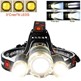 LETOUR LED Headlamp Cree T6 Headlamps Zoom 4 Brightness 8000 Lumens 500Meters Lighting Rechargeable Headlight Waterproof Running Lights Camping Lights,Golden