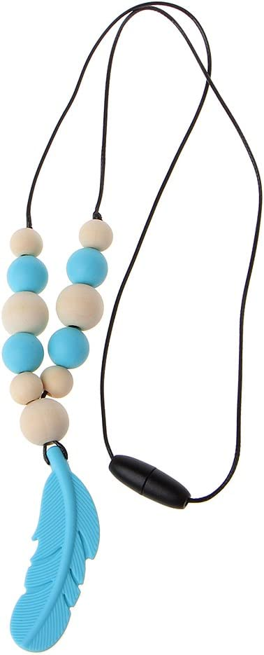 Thobu Baby Infant Silicone Feather Jewelry Teething Necklace Baby Nursing Chewing Toys Blue