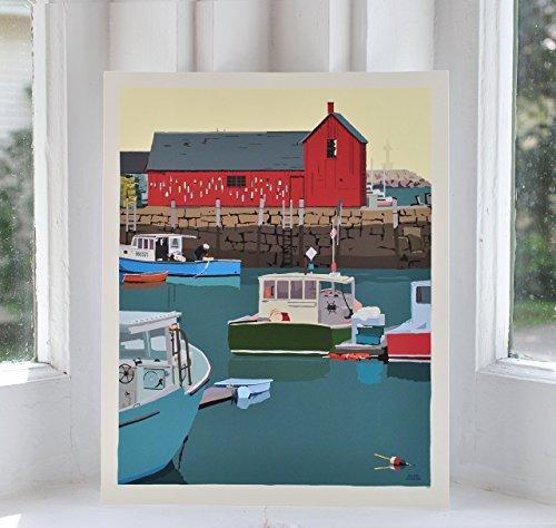 Motif #1 Painted Barn Rockport, MA print (8x10 Giclee Poster, Wall Decor Art) (1 Giclee Print)