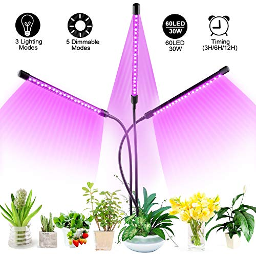 Plant Grow Light, 30W LED Grow Lamp Adjustable Gooseneck 60 LEDs Full Spectrum Grow Lamp for Indoor Plant Seedling Growing Blooming Fruiting