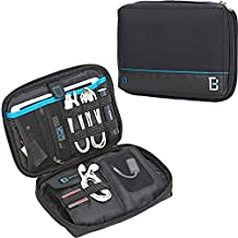 BGTREND Electronic Travel Organizer Universal Cable Cord Storage Bag Water Resistant with Custom Portable Charger Pocket for iPad Mini Hard Drive SD TF Card, Black … (Blue Line)