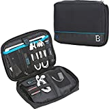 BGTREND Electronic Travel Organizer Universal Cable Cord Storage Bag Water Resistant with Custom Portable Charger Pocket for iPad Mini Hard Drive SD TF Card, Black