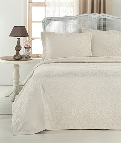 Chenille 3 Piece Set (Gelin Home - 3 Piece 100% Chenille Luxurious Soft Quilted Jacquard Matelassé Bedspread - Rock - King Size - 102