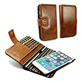 Alston Craig Genuine Vintage Leather Magnetic Wallet Case Cover (with RFID Blocking) for iPhone 7 Plus- Brown