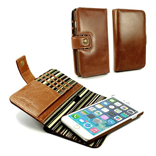 Alston Craig Genuine Vintage Leather Magnetic Wallet Case Cover (with RFID Blocking) for iPhone 7 - Brown by Alston Craig