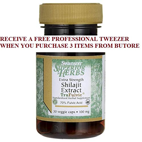 Vegetarian 100 Caps Mg (Shilajit Extract - Extra Strength + FREE PROFESSIONAL TWEEZER)