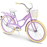 "Huffy 24"" Holbrook Women's Beach Cruiser Bike w/Cup Holder, Handlebar Basket & Rear Rack"