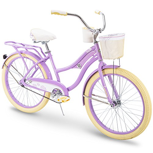 Girls Beach Cruiser Bikes - Huffy Cruiser Bike Womens, Holbrook 24 inch, Lavender & Red