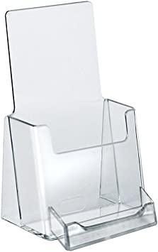 2 Pack QTY: 2 Clear Tri-Fold Brochure Holder with business card Holder
