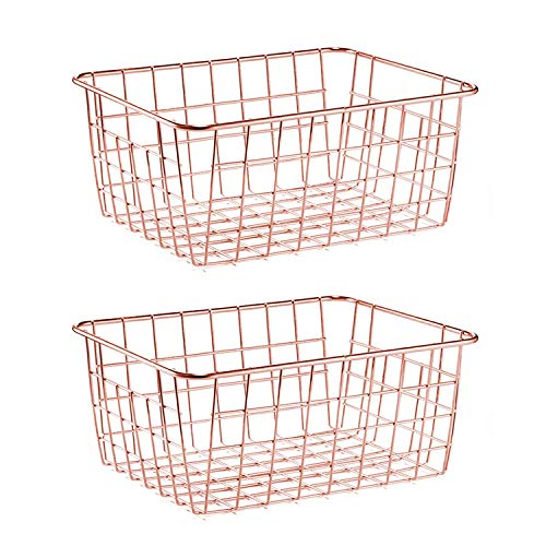 SimpleKitchen Wire Storage Basket Organizer Bin Baskets for Kithen Cabinets Freezer Bedroom Bathroom Organizing Storage Crafts Decor Kitchen(Rose Gold, 2)