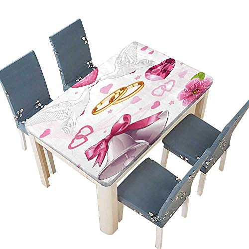 PINAFORE Decorative Tablecloth Wedding Themed Invitation Hearts Rings Birds Pink White G Assorted Size W37.5 x L76.5 INCH (Elastic Edge) ()