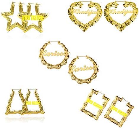 DHQH Custom Name Earrings Personalized Bamboo Hoop Earrings 18K Gold Plated Customize Earrings for Women Girls Hip-Hop Fashion Jewelry Gift