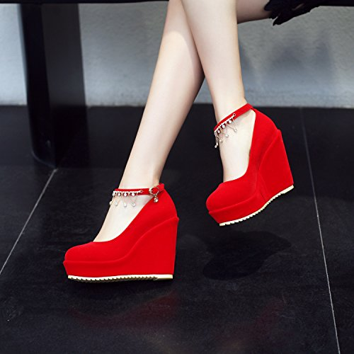 poco Spring solo zapatos correa profundas Hill red11CM con y de matrimonio perforación aguas altos zapatos de rrXRwFq