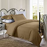1800 Series Damask Stripe Duvet Cover 3PC Set With Pillow Shams/Taupe/Full/Queen