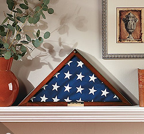 Military Flag Display Case with Personalized Brass Plaque | Holds 5' X 9.5' Folded Veteran's Memorial Burial Flag