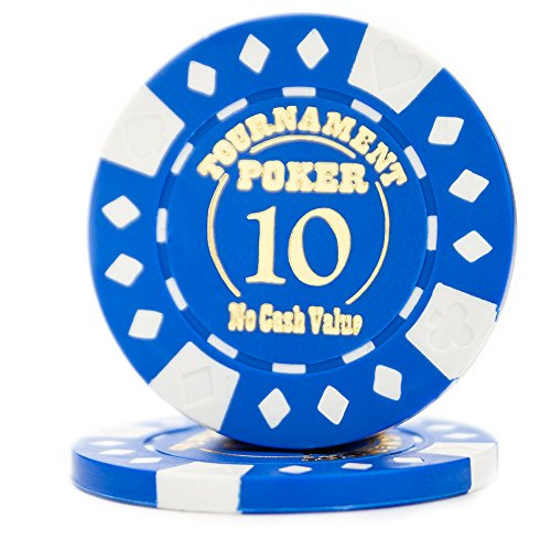 Pack of 25 Professional Tournament Hot-Stamped 12.5 Gram Poker Chips (Blue)