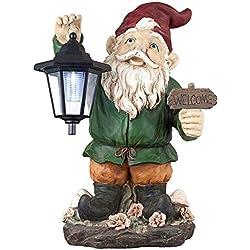 "Welcome Gnome w/solar Lantern16"" High Outdoor Garden Statue"