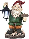 Welcome Gnome w/solar Lantern16″ High Outdoor Garden Statue For Sale