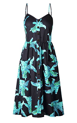 Spaghetti Button Black Floral Women's Midi Dresses Dress Pockets Bohemian Angashion 650 Strap Down Summer Swing 604XqpwT