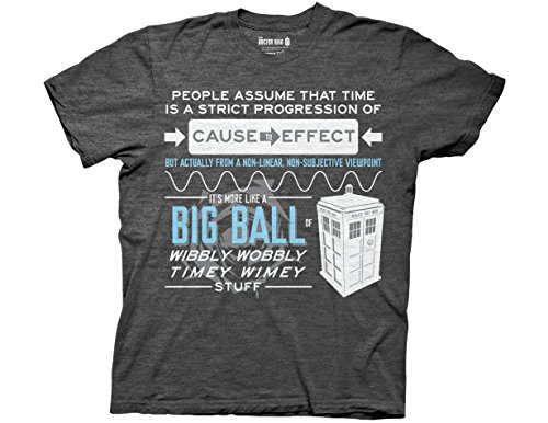 Ripple Junction Doctor Who Wibbly Wobbly Quote Adult T-Shirt Small Charcoal Heather
