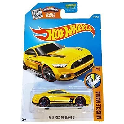Hot Wheels, 2016 Muscle Mania, 2015 Ford Mustang GT [Yellow] Die-Cast Vehicle #121/250: Toys & Games