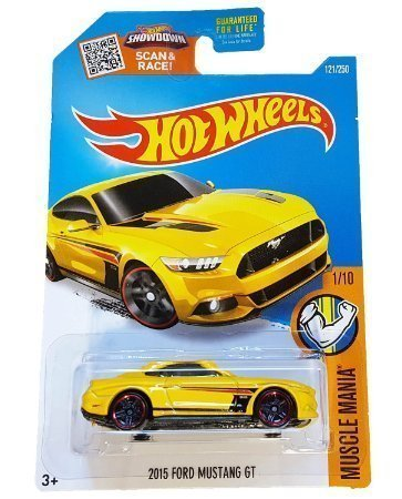 Hot Wheels, 2016 Muscle Mania, 2015 Ford Mustang GT [Yellow] Die-Cast Vehicle #121/250
