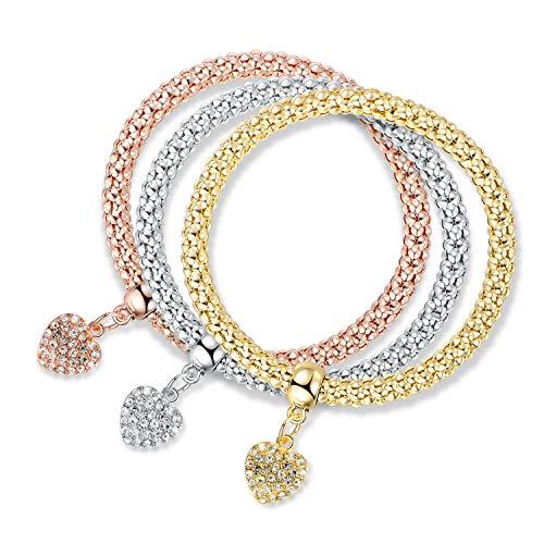 18k Gold Heart Charm - Barzel 18K Gold Plated Tri-Gold Charm Stretch Bracelets 3 Piece Set (Hearts)