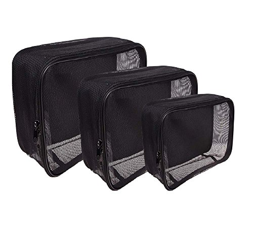 SHANY 3 Piece Assorted Size Cosmetics See Through Make Up Bag/Organizer, Black Mesh