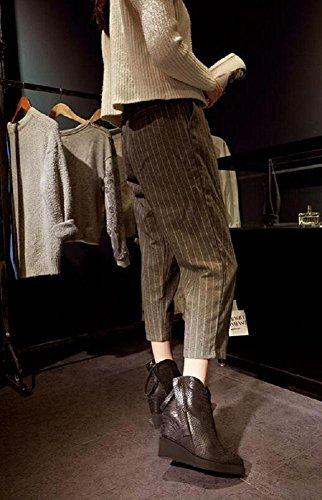 pelle cerniera in Plus caviglia da Gray con velluto donna scarpe genuino 37 modello stivali 39 serpentina GRAY doppia Personalità aumentato pendio OP5Fyq6Pw