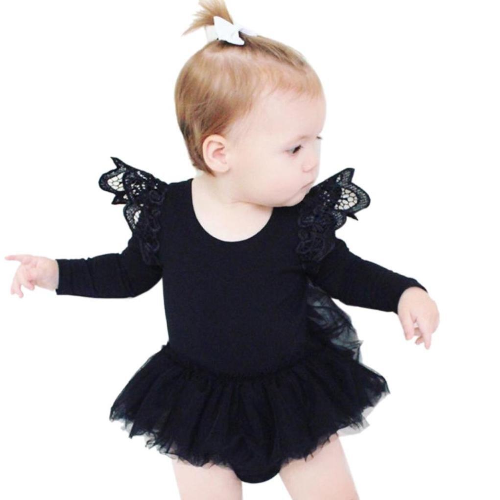 Xinan Niños Bebe Tutu Romper Laces Jumpsuit Ropa Trajes 0-2T (12M, Blanco) Xinantime Xinantime_3439