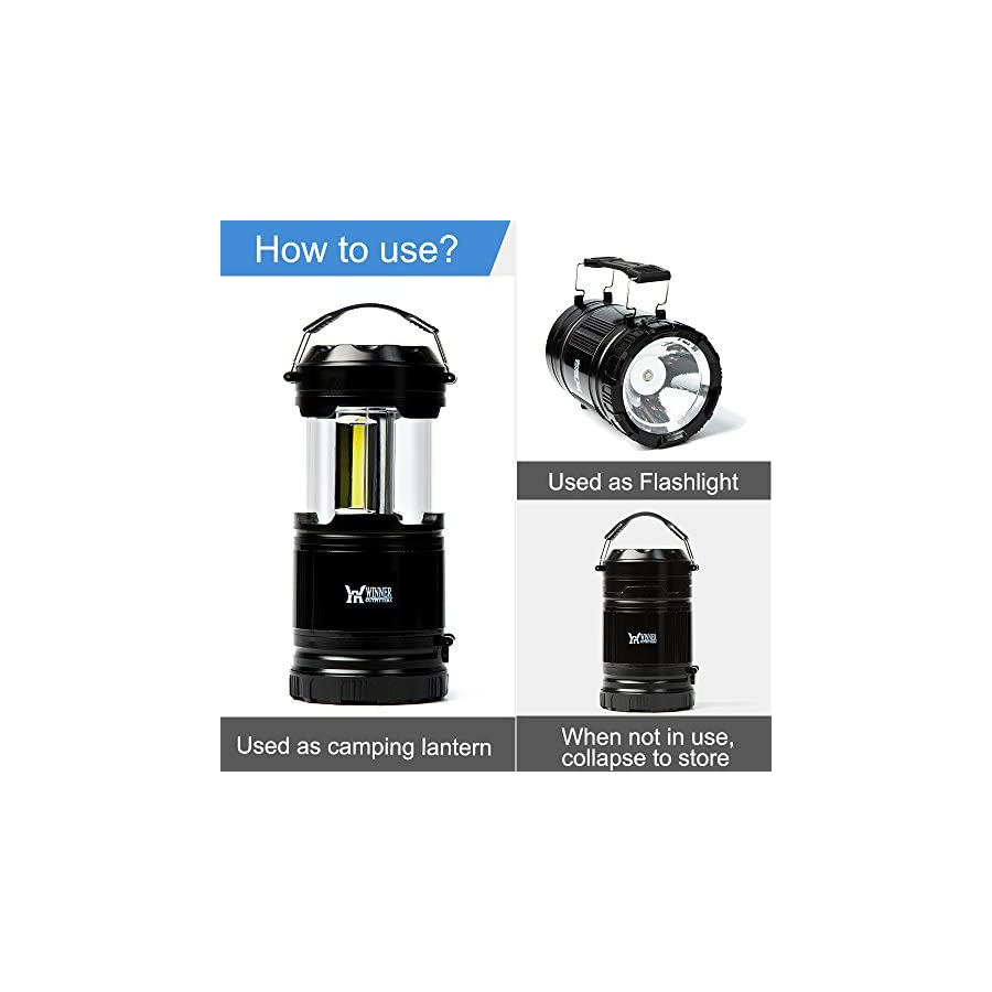 Winner Outfitters 2 Pack/1 Pack Portable Outdoor COB Camping Lantern with LED Flashlight, Great Lights for Hiking, Emergencies, Outages, Collapsible(2 Pack 6 AA Batteries & 1 pack 3 AA Batteries)